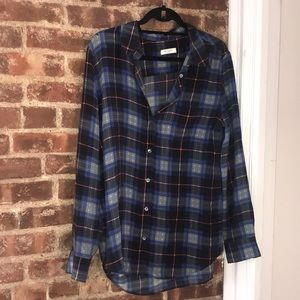 Equipment Silk Blue Yellow Red Plaid Blouse